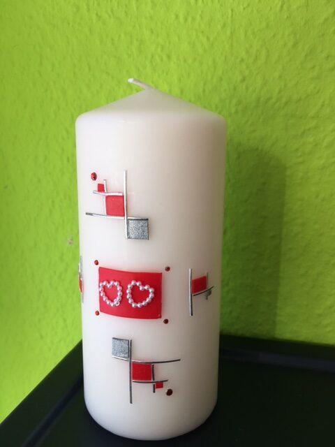 Kerze, Christine Schubert, Stiefelernie, Hochzeit, Geburtstag, Glückwunsch, Geschenk
